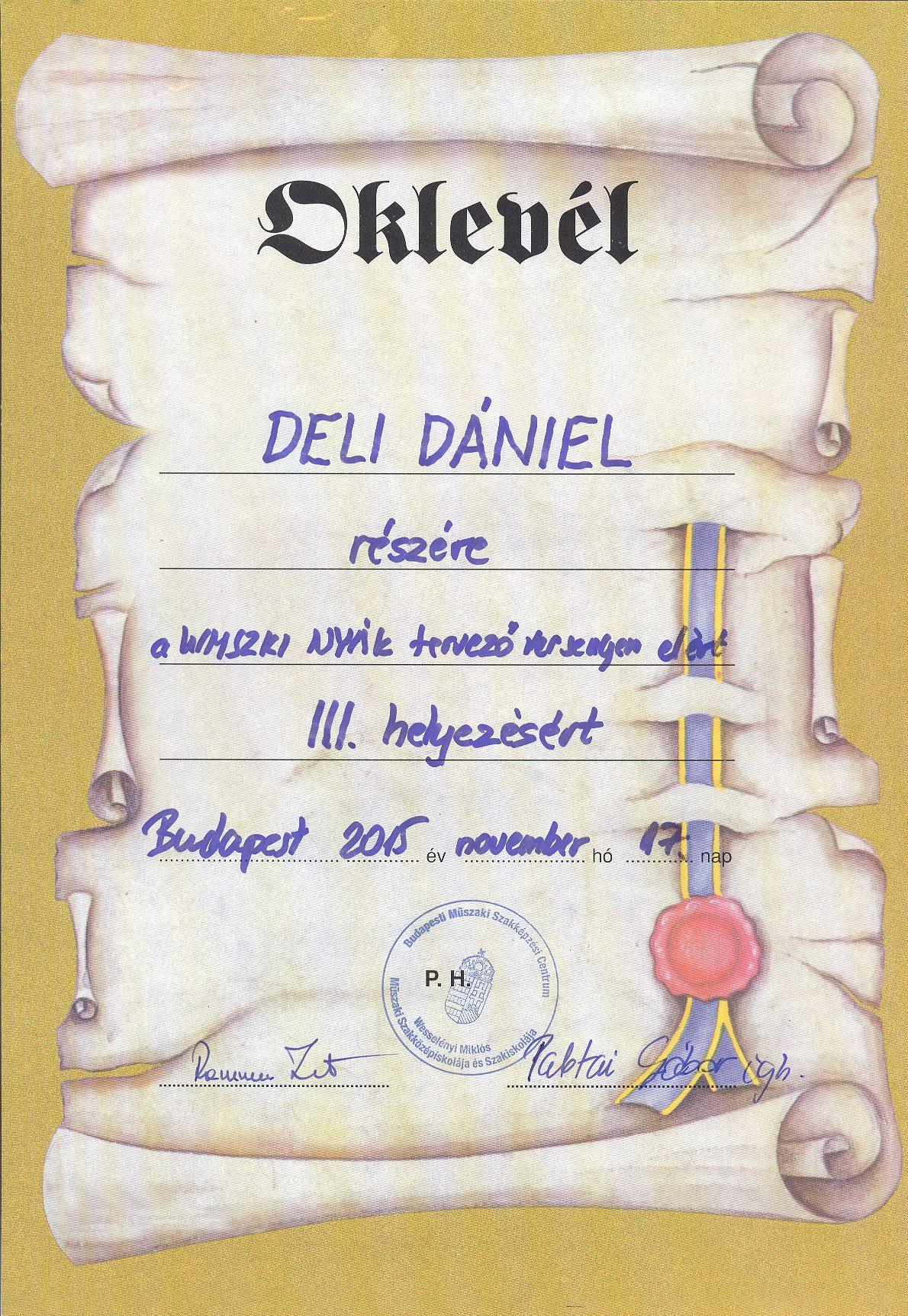 Dániel oklevele